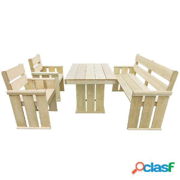 vidaXL Set de comedor de jardín 4 piezas madera de pino