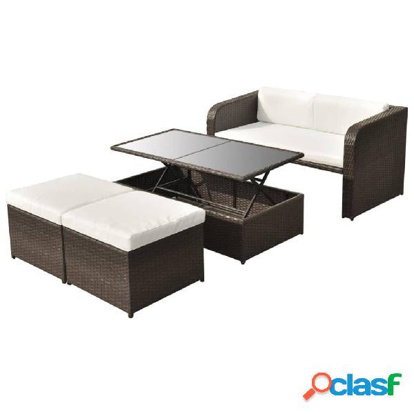 vidaXL Set muebles de jardín 4 piezas y cojines ratán