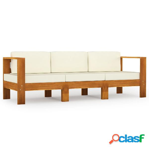 vidaXL Sofá de jardín de 3 plazas con cojín crema madera
