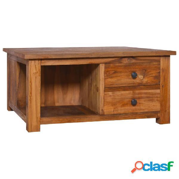 vidaXL Mesa de centro de madera de teca maciza 68x68x33 cm