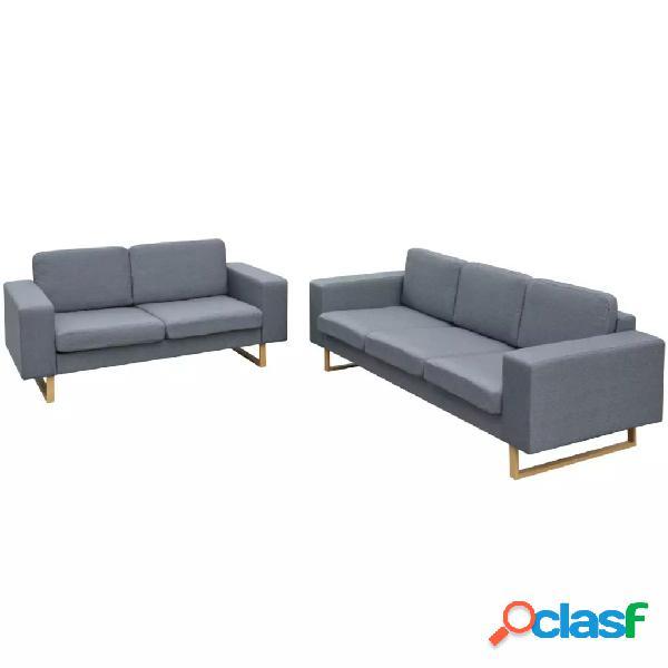 vidaXL Conjunto de sofás de 2 y 3 plazas gris claro