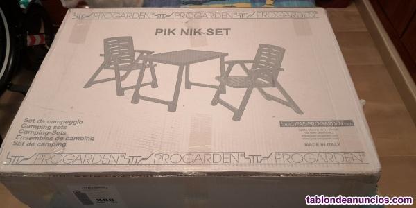 Conjunto mesa y 2 sillones plegables terraza nuevos