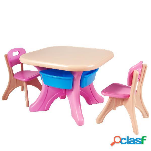 Costway Conjunto de Mesa y 2 Sillas Muebles infantil Mesa