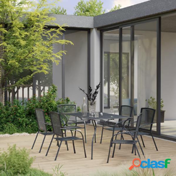 vidaXL Juego de muebles de comedor de jardín 7 piezas acero