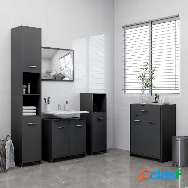 vidaXL Juego de muebles de baño de 4 piezas gris