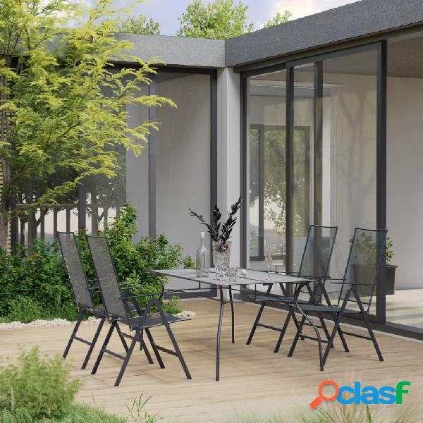 vidaXL Juego de muebles de comedor de jardín 5 pzas acero