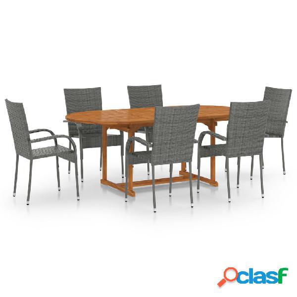 vidaXL Set de muebles de comedor de jardín 7 piezas ratán