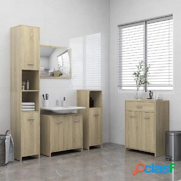 vidaXL Juego de muebles de baño de 4 piezas roble Sonoma