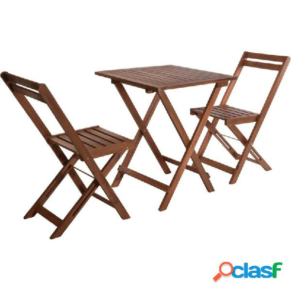 Set mesa plegable madera 60x60x72 cm y 2 sillas plegables