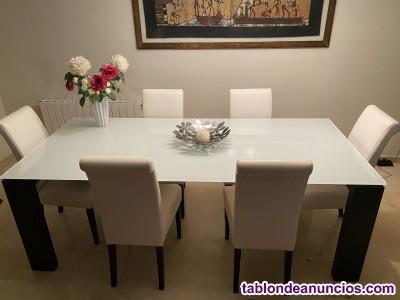 Mesa comedor/oficina extensible y sillas