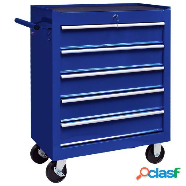 vidaXL Carrito caja de herramientas 5 cajones azul
