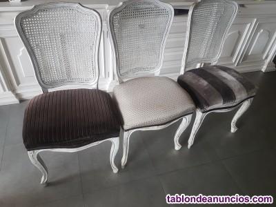 Seis sillas madera pintado envejecido y tapizadas