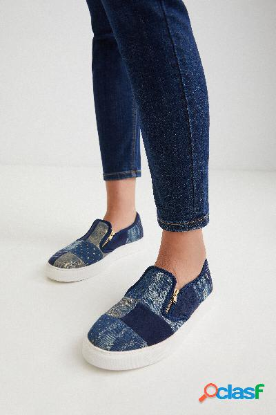Zapatillas slip on denim cremallera - BLUE - 38