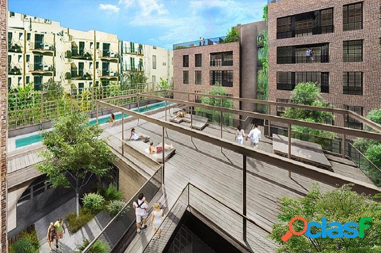Piso con estilo industrial urbano en nueva construcción en