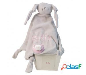 Doudou y chupete personalizado con el nombre del bebé rosa