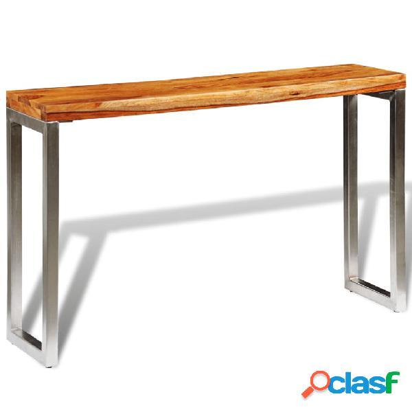 vidaXL Mesa consola de madera de sheesham maciza y patas de